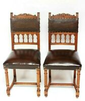Pair of Antique Renaissance Style Oak and Leather Chairs [6361B]