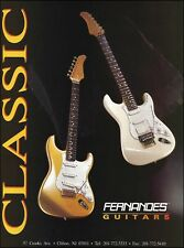 Fernandes Classic Series gold white guitar 1990 advertisement 8 x 11 ad print