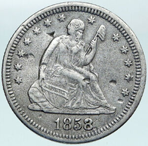 1858 UNITED STATES US Silver SEATED LIBERTY Quarter Dollar Coin w EAGLE i88309