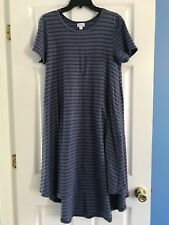 Lularoe Carly Hi Lo Blue Striped Dress Short Sleeve - Size S