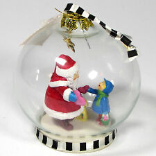 "Mary Engelbreit Santa & Child 4"" Glass Globe Ornament 1994 Christmas Corner"