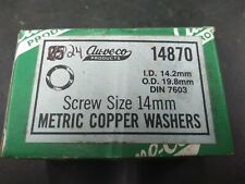 (Box of 24) Au-ve-co Metric Copper Washers for 14mm Screws ID 14.2mm OD 19.8mm