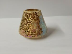 """Vintage Yankee Candle Cracked Crackle Gold Glass Shade Topper 3"""" tall."""