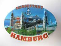Hamburg Landungsbrücken Rathaus Stone Magnet Poly Relief 7 cm Souvenir,Neu