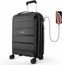 REYLEO Expandable Luggage 20 Inch PP Carry on Luggage Travel Suitcase with USB C