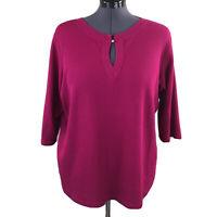 Avenue Womens Top Thermal Purple 3/4 Sleeve Keyhole Neck Knit Shirt Size 22 24