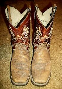 Double H Mens Sz 10 1/2 D Brown Square Toe Leather Roper Cowboy Western Boots