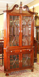 1890s Era Solid Mahogany Chippendale Corner Cabinet Cupboard Hand Blown Glass