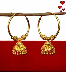 Real looking 22 ct gold plated EARRINGS Indian LARGE HOOP Ethnic Style kapa