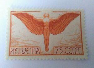 Suiza año 1924 Helvetia Aéreo 75 cent. MNH