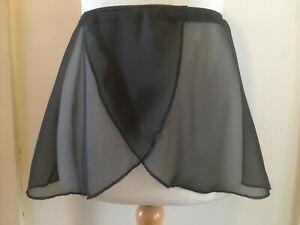 Girls Chiffon Georgette Ballet Dance Crossover Wrap Skirt NEW Black or White
