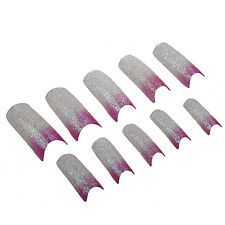 Pink White Glitter Acrylic False Nail Art Tips LW