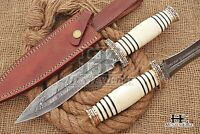 HUNTEX Custom Handmade Damascus Steel 30 cm Long Camel Bone Hunting Spear Knife