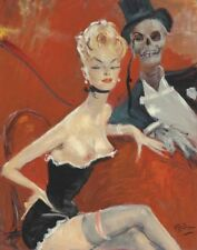 Domergue Gabriel Jean The Black Widow Canvas 16 x 20    #3731