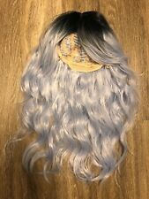 """Everyday Wigs 24"""" Wefted Cap Synthetic Wig Blue & Black cosplay Lace Front"""