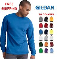 Gildan Cotton Long Sleeve T Shirt Mens Blank Casual Plain Tee Sport 5400