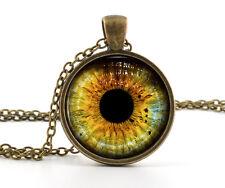 Yellow Colour Wolf Eye Necklace Pendant - Bronze Wild Wolves Animal Jewelry Art