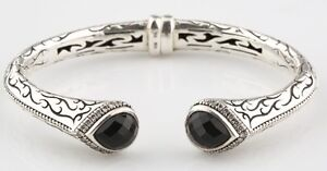 Scott Kay Jewelry 925 Etch Sterling Silver and Diamond-Framed Onyx Cuff Bracelet