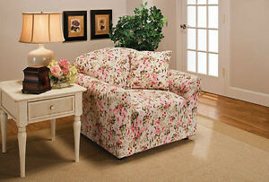 PINK FLORAL-CHAIR SLIPCOVER-ALSO IN  SOFA COUCH LOVESEAT & RECLINER SIZES-NICE X