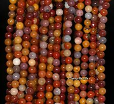 """4MM  MOOKIATE  GEMSTONE  BROWN YELLOW ROUND 4MM LOOSE BEADS 15.5"""""""