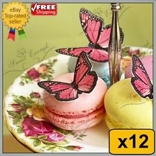 12 X BUTTERFLY BIRTHDAY MIXED CUPCAKE TOPPERS EDIBLE CAKE WAFER PAPER PINK