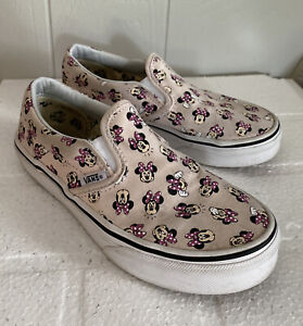 Disney Vans Minnie Mouse Classic Slip On  Pink Youth Kids Size 2 USED