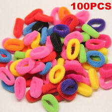 100Pcs Colorful Elastic Rope Ring Hairband Womens Hair Tie Band Ponytail Holder