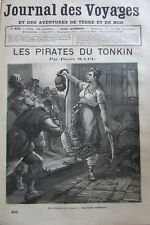 JOURNAL DES VOYAGES N° 405 de 1885 CHINE TONKIN FEMME PIRATE / PÊCHE ANGUILLE
