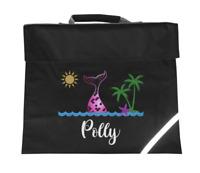 Personalised Mermaid Book Bag School Glitter Books Stationary Custom PE