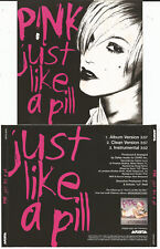 """PINK """"Just like a Pill"""" 3 track Promo CD 2002 - Jewel Case"""
