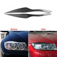 For BMW E90 E91 2006-2011 Carbon Fiber Headlight Eyebrow Eyelid Cover Frame Trim