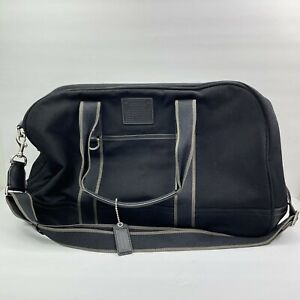 Coach Black Gray Canvas Leather Duffle Overnight Travel Bag