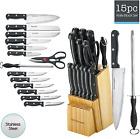 Kitchen Knife Set 15 Piece Block Stainless Steel Chef Cutlery Steak Knives New