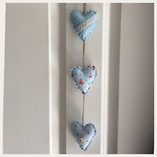 Handmade Fabric Set Of Three Vertical  Shabby Chic Hanging Hearts