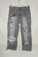 Men's Pre-Owned Sz. 36 Monochrome NBA Basketball Jeans Stitched Team Logos