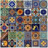 "100 4x4"" Mexican Decorative Ceramic Tiles  Mix 34 D Folk Art Hand Painted"