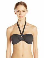 Lark & Ro Women's Swimwear Solid Black Bandeau Bikini Top Size Medium Swim