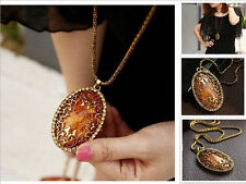 Korean Hollow Rhinestone Autumn Sweater Long Chain Oval Amber Pendant Necklace