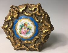 19th C Carved Wood and Gold Gilt Inkwell w/ Sevres Style Plaque Louis XV French