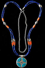 Vintage Sterling Silver, Brass, Untreated Coral and Lapis Lazuli Necklace 24""