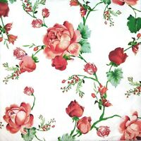 3 x Single Paper Tissues For Decoupage Napkins Pink Painted Roses Flowers M086