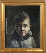 51x61cm Quality art original oil painting on canvas portrait of Russian boy