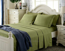 6 Piece Deep Pocket Bed Sheet Set 1800 Count Deluxe Sage Color / Queen size NEW
