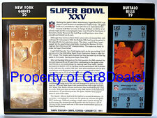 SUPER BOWL 25 ~ GIANTS vs BILLS ~ NFL 22 KT GOLD SB XXV TICKET ~ Willabee & Ward