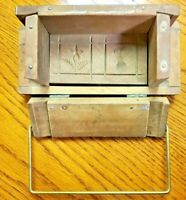 Antique Primitive Rectangular Butter Mold with Hinged Sides - Flower + Pear