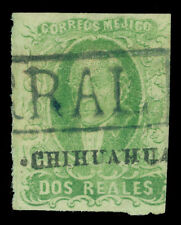 MEXICO 1856 HIDALGO 2r green - CHIHUAHUA - dist. ovpt Sc# 3 used VF PARRAL cxl