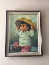 "Original Oil Painting Asian Boy Signed by Ming, Framed, 17 1/2"" x 24"" (Image)"