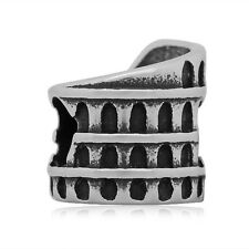Colosseum of Rome Italy roma bead silver slide charm bracelet bangle PD european