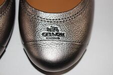 NIB COACH Size 6 Women's Gunmetal Pebble Grain Leather CHELSEA Ballet Flat