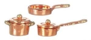 Dolls House 1:24 Scale Copper Pan Saucepan Set Miniature Kitchen Accessory